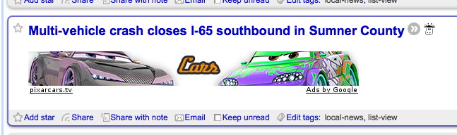"wrong semantic context - image shows an ad for ""Cars"" movie displayed with a headline about a multi-vehicle crash"