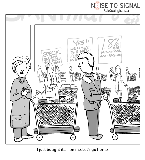Comic showing consumer abandoning cart at store after buying everything via her phone