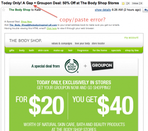 Body Shop + Groupon email screenshot